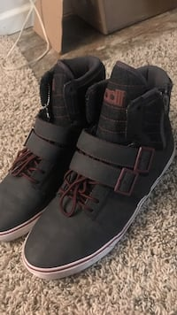 black-and-white velcro hi-top sneakers
