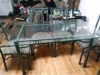 rectangular glass top table with black metal base Staten Island, 10301