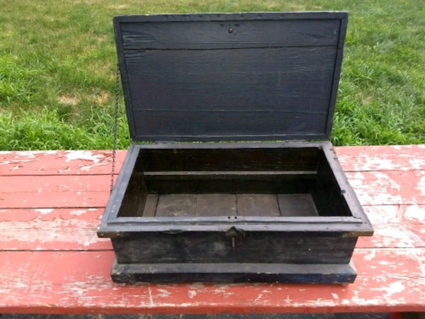 black and gray wooden chest box