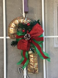 """Gold & Red Christmas Candy Cane Wreath 15"""" Tall Rialto, 92376"""