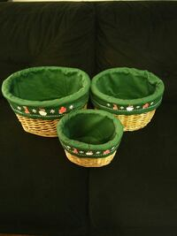 three wicker green-and-beige baskets Plainfield, 07063