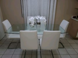 Modern Glass Dining Table Set with 6 Chairs