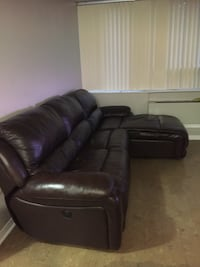 Brown real leather reclining sofa Kitchener, N2A 1B1