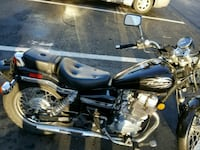 black and gray cruiser motorcycle with saddle bags Germantown