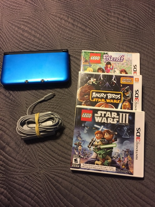 Used Nintendo Blueblack Nintendo 3ds Xl Console With 3 Games For