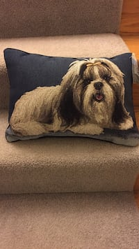 Black and white shih tzu graphic throw pillow.