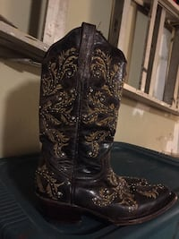 black-and-brown floral leather double rose scallop R toe undershot heeled knee-high cowboy boots 1132 mi