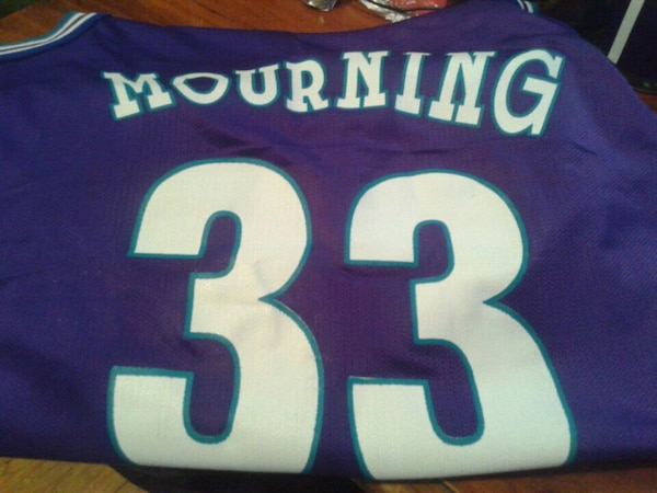 best service e53fb a1065 Alonzo mourning Charlotte hornets jersey