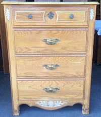 4 Drawer Oak Leaf Dresser / Chest Of Drawers by Stanley