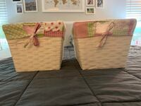 Set of two white baskets with pink and green liners  Gaithersburg, 20878