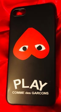 black Comme des Garcons Play iPhone rear case