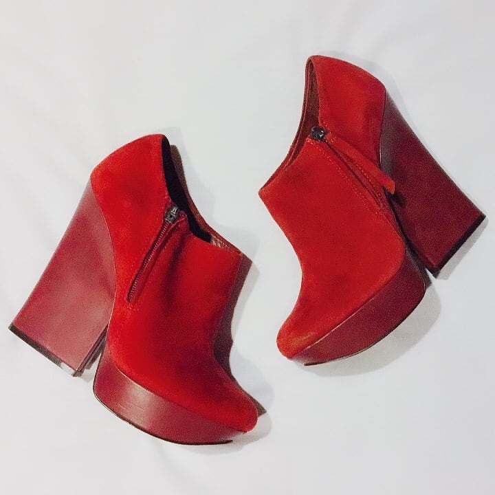 Red Italian Leather Runway Platform Booties ab417e42-4634-4a5c-9d21-50e9eca8df30