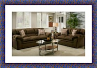 Chocolate fabric sofa and loveseat free delivery Falls Church, 22041