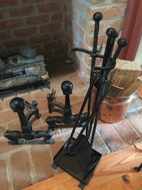 Fireplace Andirons and poker/tool set heavy steel  Hagerstown, 21740