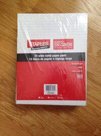 Brand new 15 Wide ruled paper pads from staples Toronto, M8Z 3Z7