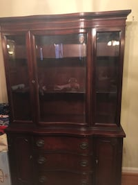 brown wooden framed glass display cabinet Burtonsville, 20866