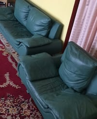 Green leather sofa couch and love seat set  Toronto, M3K 1Y3