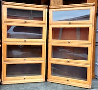 Matching Pair of Oak Barrister Bookcases / Display Shelves  Lakeville, 55044
