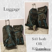 black-and-teal luggage set collage