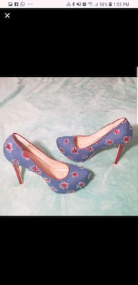 pair of blue-and-red platform stilettos 17 mi