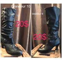 unpaired size 10 black leather round-toe cork-heeled mid-calf boot collage