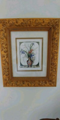 brown wooden framed painting of flowers Lisle, 60532