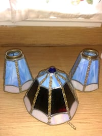 3 vintage stained glass lamp shades
