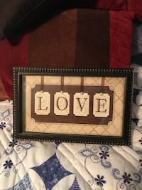 brown and beige Love text printed wall decor in black frame Tullahoma, 37388