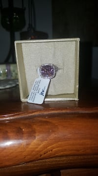 silver-colored ring with square cut pink gemstone with white box Fishersville