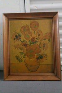 brown wooden framed painting of flowers Los Angeles, 90068