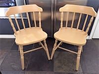 Pair of Solid Wood Butternut Chairs