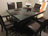 rectangular brown wooden table with chairs dining set Falls Church, 20598