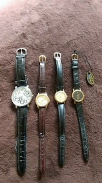 round gold-and-silver-colored watches