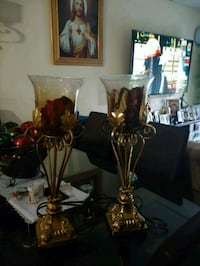 two brass base table lamps Hialeah, 33012