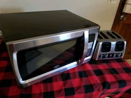 Microwave oven and bagel toaster.