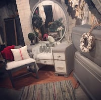 Antique vanity and full size bed