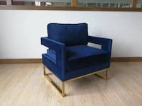 New Blue And Gold Accent Chair