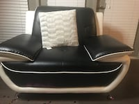 Black and white leather couch set