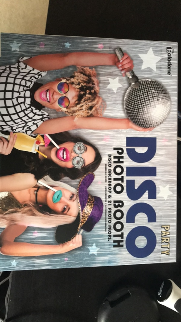 Disco photo booth backdrop and props