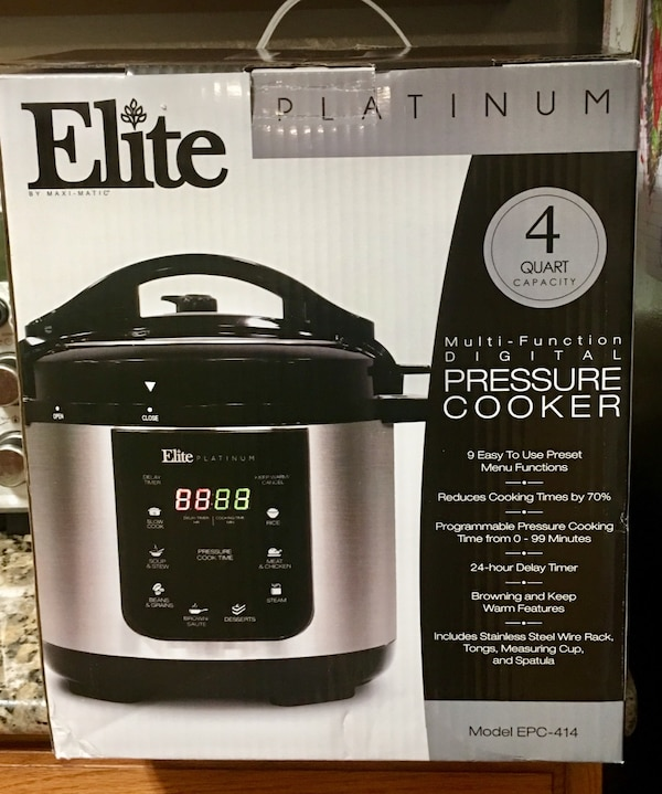 Elite Platinum EPC-414 Maxi-Matic 4 Quart Electric Pressure Cooker, Black  (Stainless Steel)