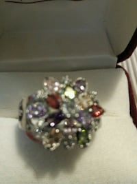 92.5 sterling silver ring size 8 all different colors of stones  Andover, 55304