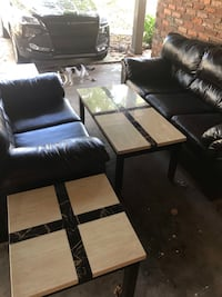 Dark Brown leather 3-seat sofa/ love seat and 3 tables Douglasville, 30135