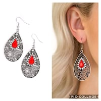 Modern Monte carlo red earrings