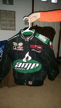 black and green amp energy button up jacket