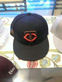 black and red fitted cap North Saint Paul, 55109