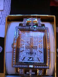 rectangular gold-colored analog watch with clear gemstones West Palm Beach, 33401