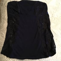dark blue lace strapless shirt