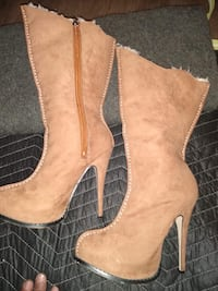 Brown Suede High Heel Boots