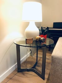 Crate & Barrel glass side table