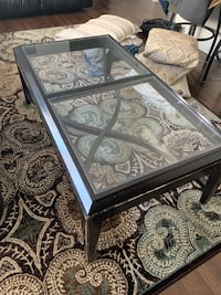 Glass coffee table and side table set